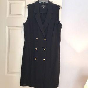 Tahari Black Double Breasted Sleeveless Dress EUC